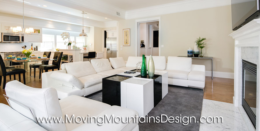 White leather sofa family room contemporary home staging
