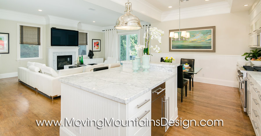 Remodeled kitchen white marble counters home staging