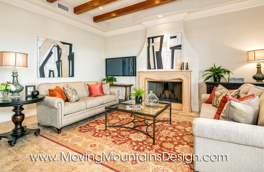 Family room luxury home staging in Valencia