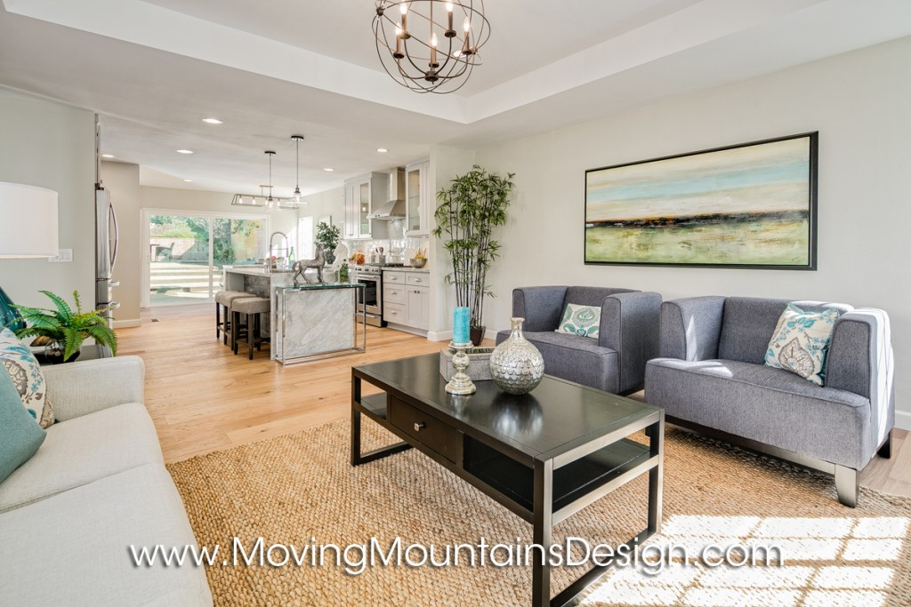 Open floorplan living area home staging