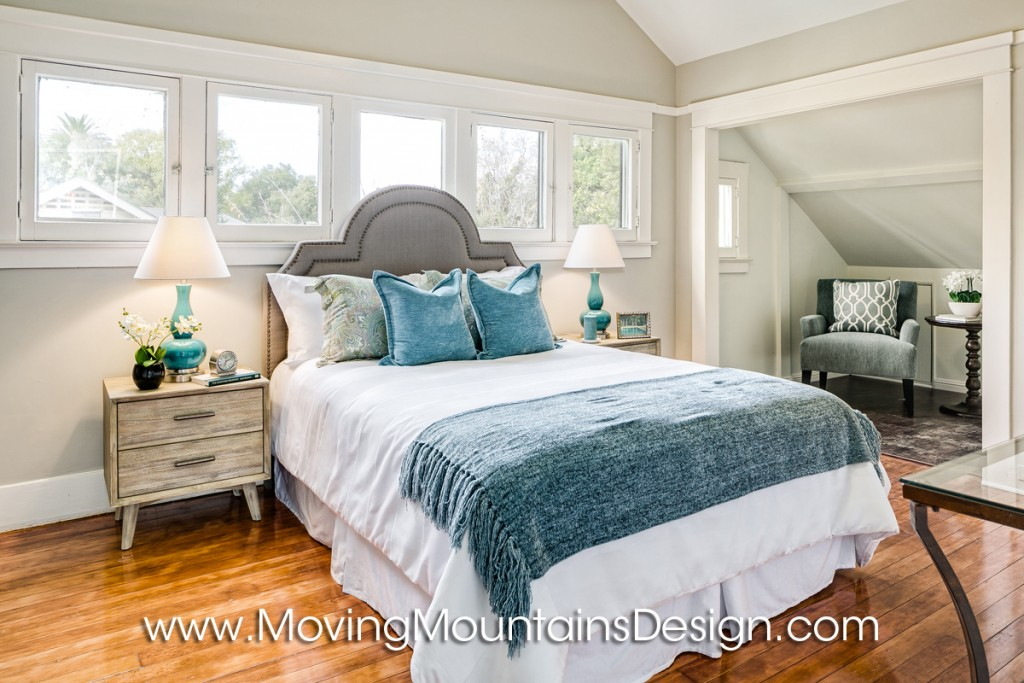 Investor Staging Master Bedroom blue and gray