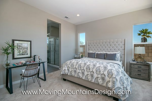 Gray and white Master BedroomModel Home Staging
