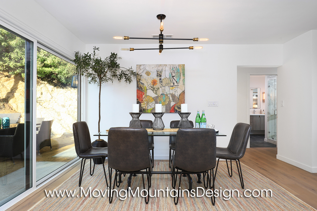 Hollywood Hills home staging dining area