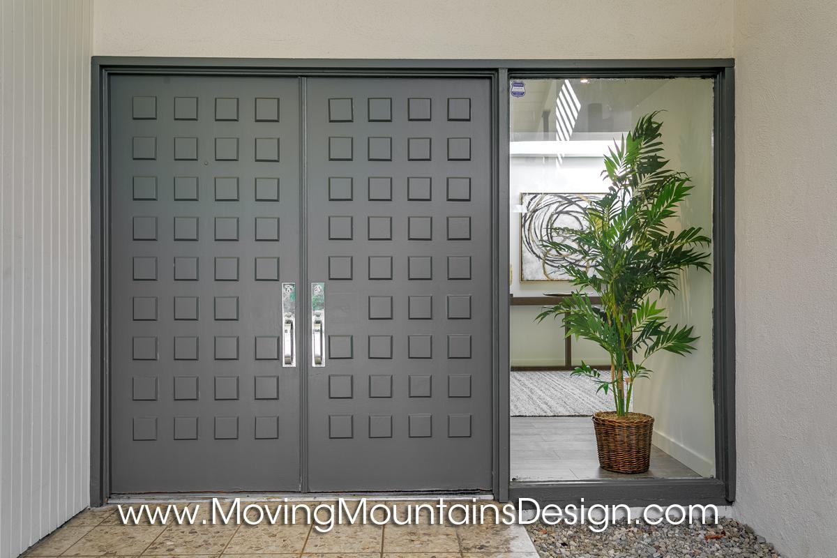 Front door of Pasadena Mid-Century Modern Staging