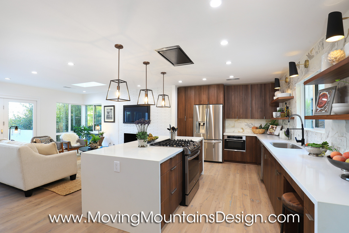 Wide view of the kitchen Hollywood Hills home staging