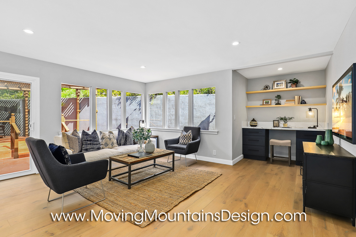 Boho Chic Family Room Home Staging by Moving Mountains Design