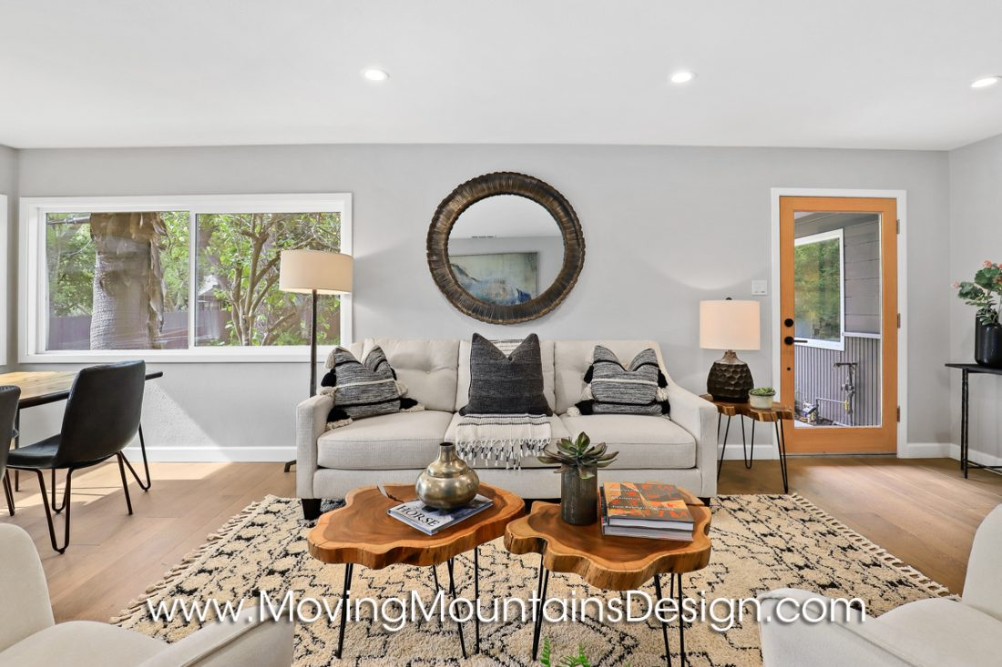 Living room staging in Boho style