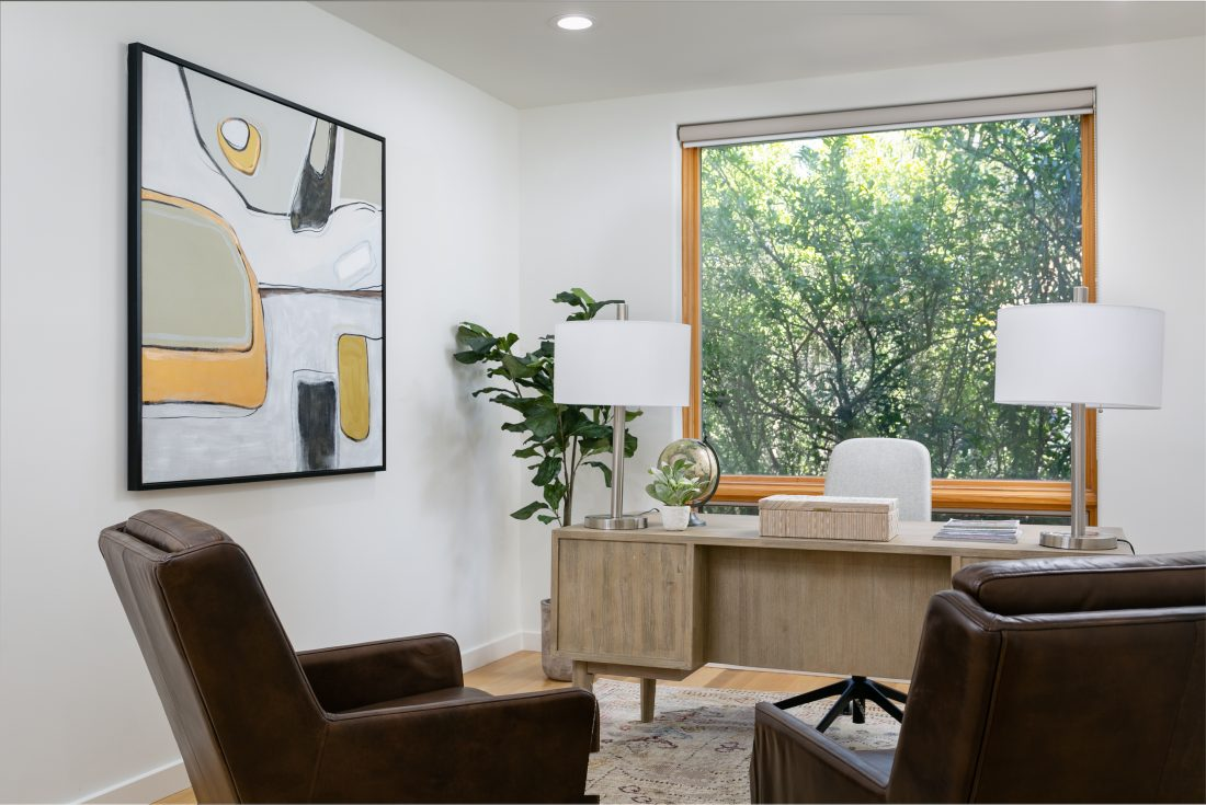 Home office staging in a contemporary home